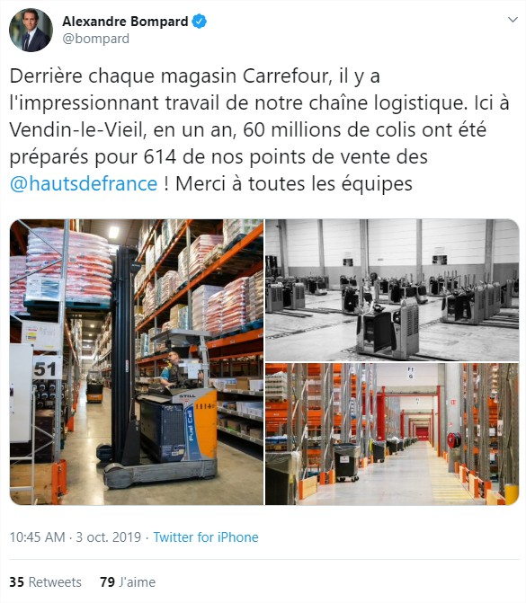 tweet Alexandre BOMPARD CEO Carrefour